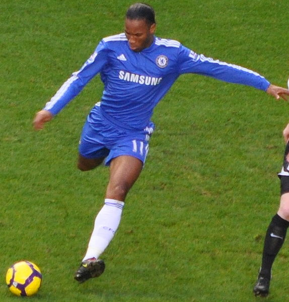 Didier Drogba playing for Chelsea