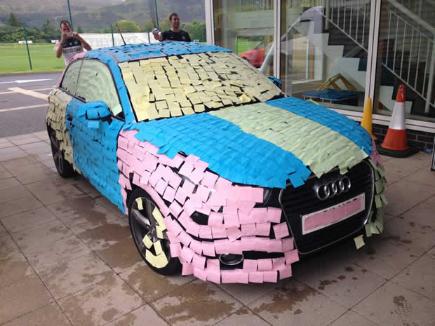 Mohamed Bangura's car, that was covered with Post-it notes by Celtic players Joe Ledley, Kris Commons and Scott Brown