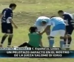 Salomé di Iorio, the female referee is knocked-out as the ball hits her in the face