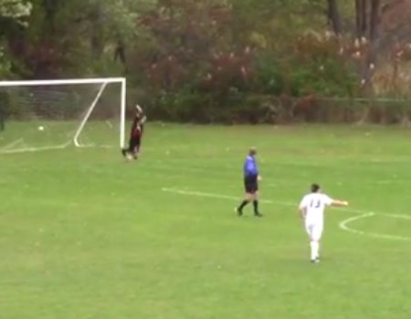 University of Maine at Farmington's Luke Sterling scores a flip throw-in in 8-1 victor over Green Mountain