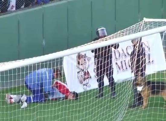 A fan falls from the stands in Argentinian lower league game