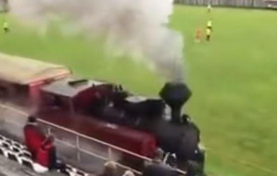 A steam train interrupts the home games of Slovakian amateur team TJ Tatran Čierny Balog