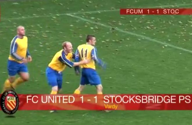 Jamie Vardy goal for Stocksbridge Park Steels in 2009, scored against FC United of Manchester