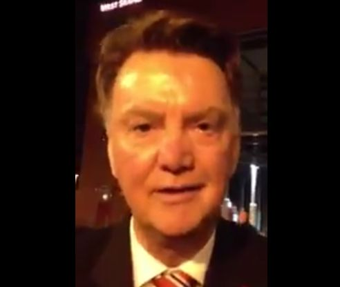 """Louis van Gaal says """"C'mon The Town"""" in an Irish accent in response to a request from a Portlaoise GAA fan"""