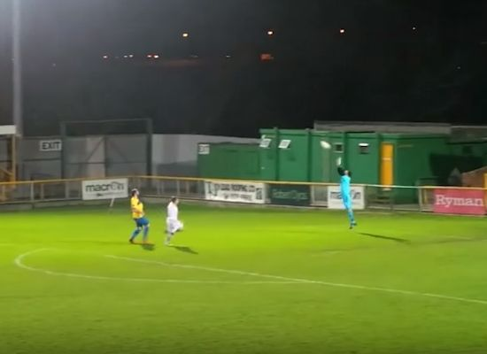 Thurrock defender Kamarl Duncan scores wind-assisted own goal from near the halfway line in their clash against Romford
