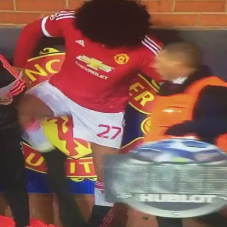 Marouane Fellaini trouser struggle