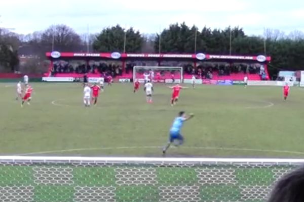 The Hemel Hempstead goalkeeper scores a 90th minute equaliser from 90 yards out against Sutton United