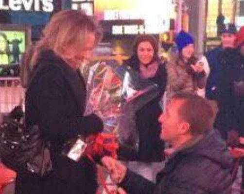 Brendan Rodgers proposes to his girlfriend in New York's Times Square