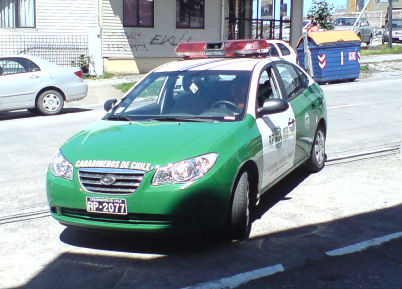 Chilean police car, the likes of which was urinated on by a footballer in this photo