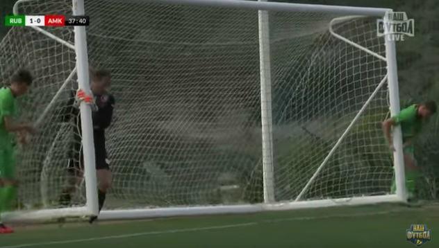 Goalposts blow away during friendly between Rubin Kazan and Amkar