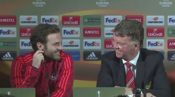 """Louis van Gaal says he wants his players to be more """"horny"""" before turning to Juan Mata and sharing this grin"""
