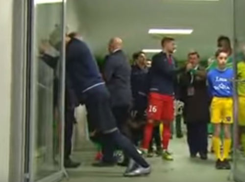 Zlatan Ibrahimović falls through a door