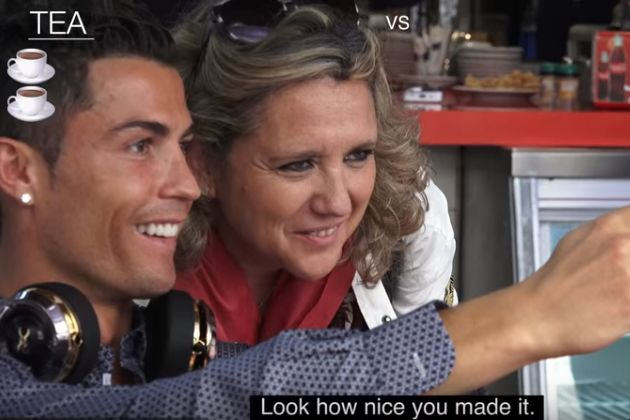 Cristiano Ronaldo has tea and has his photo taken with numerous fans