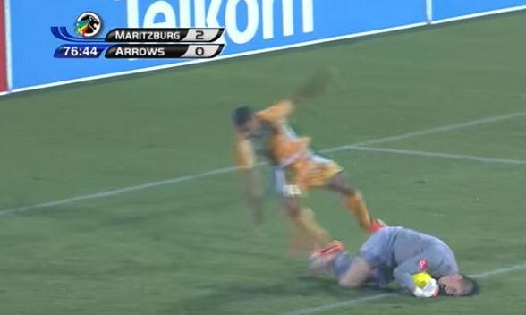 Maritzburg United goalkeeper Glenn Verbauwhede trolls an attacker during a South African Premier Division match