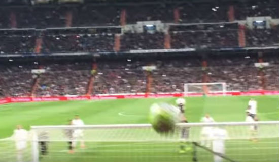 Cristiano Ronaldo's penalty miss hits a fan in the face who happened to be filming it