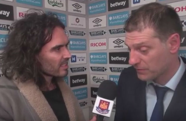 Russell Brand interviews Slaven Bilić following West Ham's 1-0 win over bitter rivals Tottenham