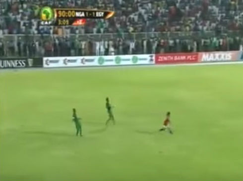 The referee at Nigeria 1-1 Egypt blew the full time whistle with Mohamed Salah through on goal