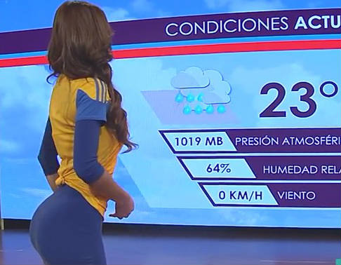 Yanet García presents weather in Tigres kit