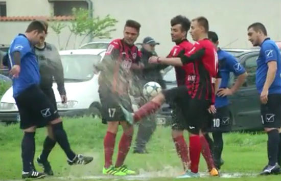 Players clashed over a waterlogged penalty spot in Bulgaria