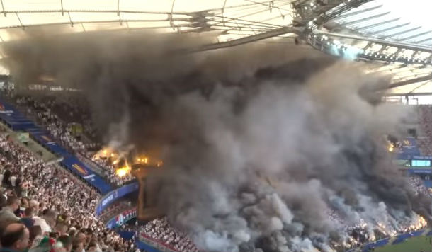 The Polish Cup final was engulfed in smoke as fans celebrated in style