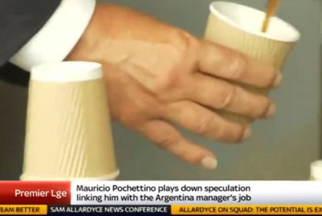 New England manager Sam Allardyce making a tea on Sky Sports News