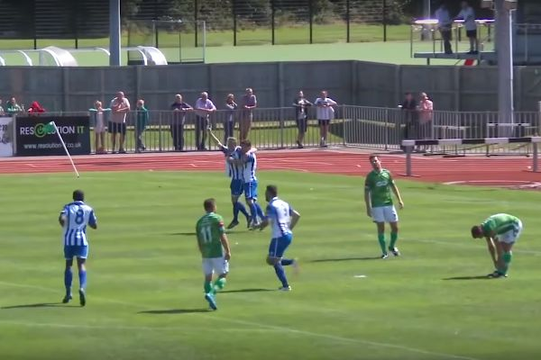 A wind-assisted goal for Thamesmead Town against Guernsey in FA Cup preliminary round