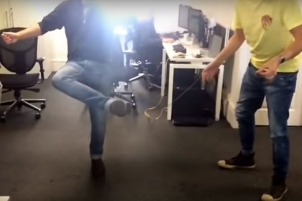A game of office teabag keepie uppies to make a cup of tea