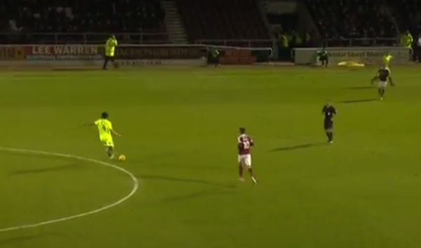 Peterborough's Michael Bostwick mistakes a steward for a team-mate