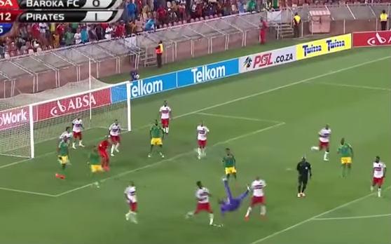Oscarine Masuluke, Baroka goalkeeper, scores an overhead kick against Orlando Pirates