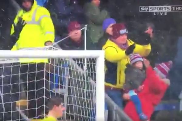 Burnley fan saves baby from ball during Chelsea match