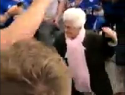 Leicester fans sing with dancing grandma in Seville
