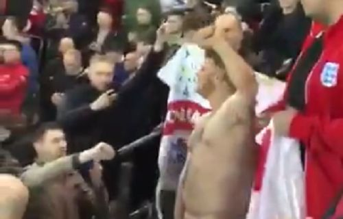 A naked England fan in the stands at Signal Iduna Park for their 1-0 friendly defeat to Germany