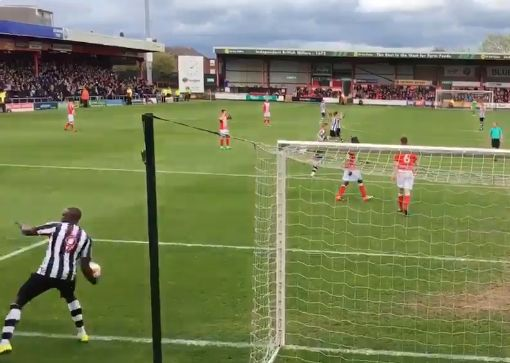 Notts County's Shola Ameobi throws ball towards Crewe fans at Gresty Road