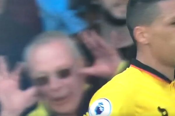 Spurs fan makes funny face to camera during a 4-0 win over Watford at White Hart Lane