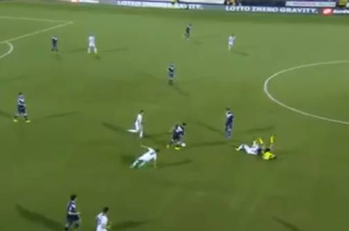 Cesena player slide tackles referee during 1-1 Serie B draw with Brescia
