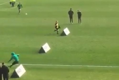 Fan trips over hurdle during Oxford United half-time show as they host Port Vale