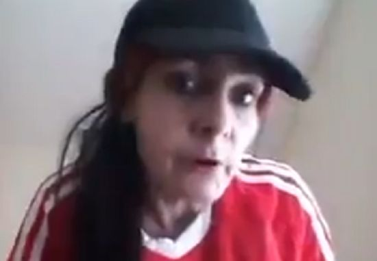 Woman in Liverpool shirt raps Notorious B.I.G. - Juicy