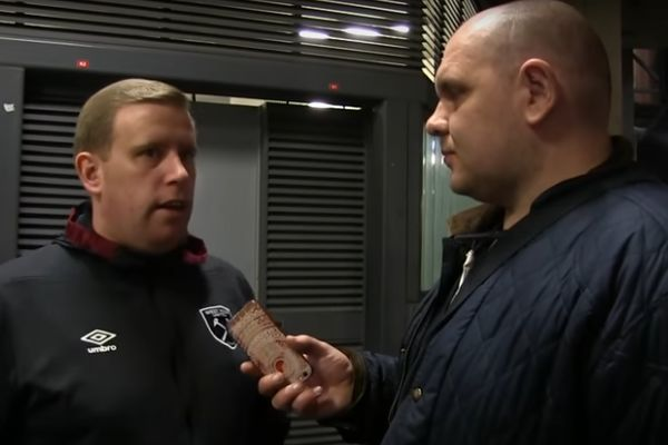 A swearing supporter interviewed on West Ham Fan TV after their 3-0 defeat at Arsenal