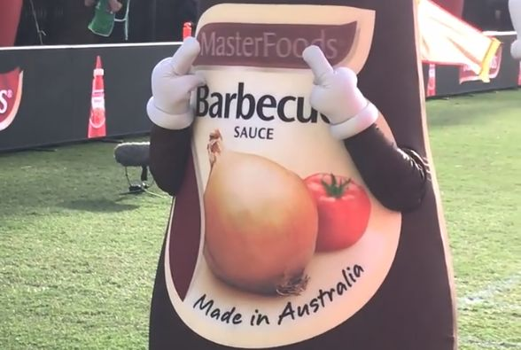 Cental Coast Mariners' BBQ sauce bottle mascot swears at Newcastle Jets fans