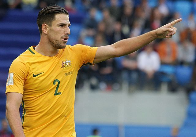 Milos Degenek, who fell over during Australia's World Cup play-off second leg against Syria