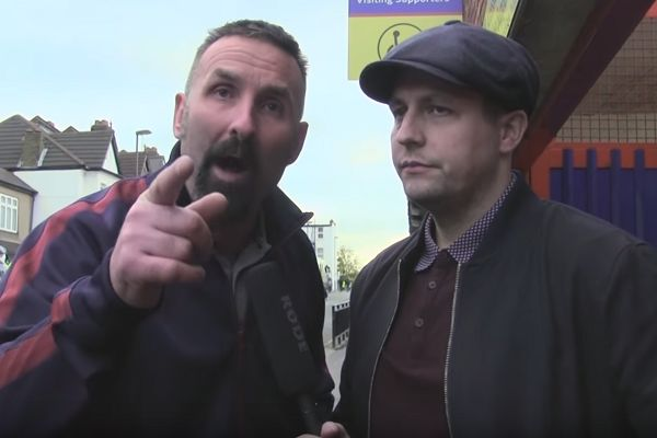 Angry, swearing supporter on West Ham Fan TV outside Selhurst Park after their 2-2 draw against Crystal Palace