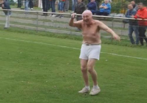 Topless elderly pitch invader interrupts a German lower league game between FC 98 Hennigsdorf and FSV Babelsberg 74