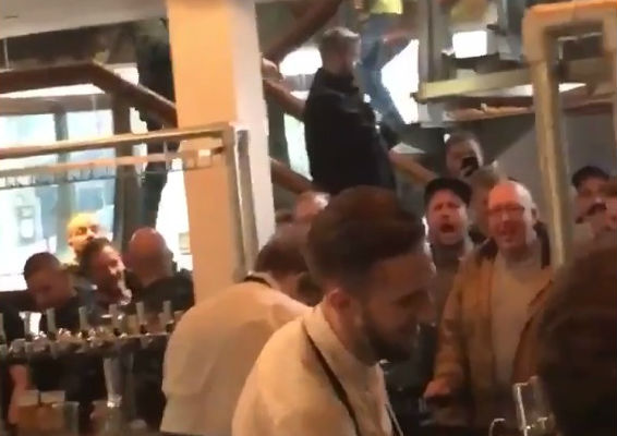 Leeds fans sing at barman who looks like Harry Kane