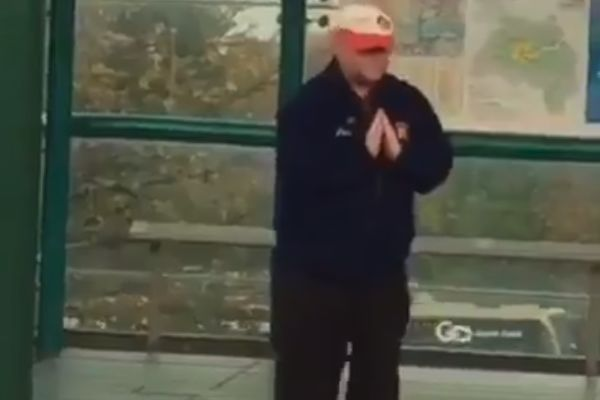 Dave the Rave, a dancing Sunderland fan at a local train station
