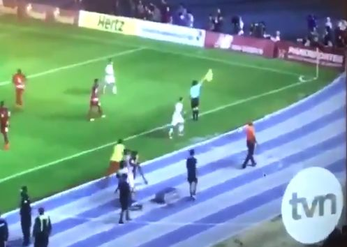 An unused Panama sub kicks the ball into the crowd at the end of their 2-1 World Cup qualification win over Costa Rica