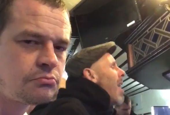 Man films himself listening to a Burnley fan singing song about Blackburn in the pub