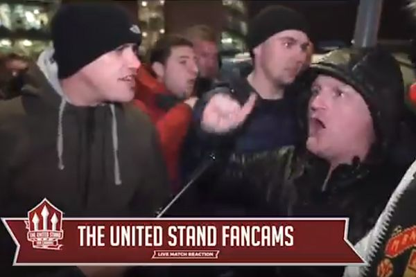 A very angry Manchester United supporter speaks to fan TV outside Old Trafford after 1-2 defeat to Manchester City