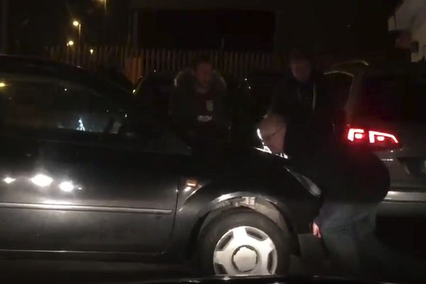 Peterborough fans push car out of the way after 1-3 FA Cup win at Aston Villa