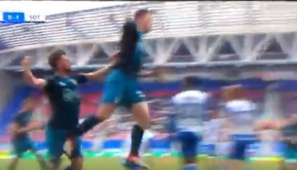 Southampton's Pierre-Emile Højbjerg kicks Jack Stephens in the nuts