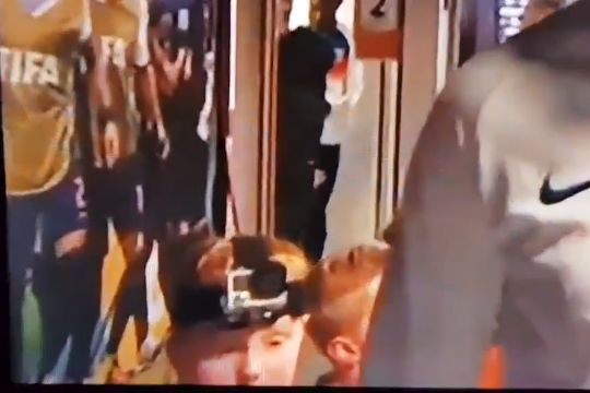 Holland mascot wears a GoPro action camera on their head for the friendly against England
